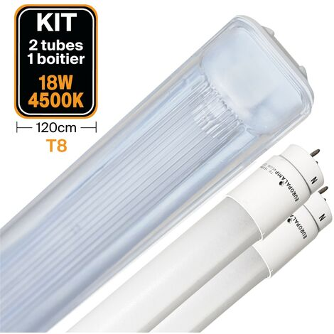 Kit 2 tubos led T8 18 W Blanco neutro + Caja impermeable 120 cm