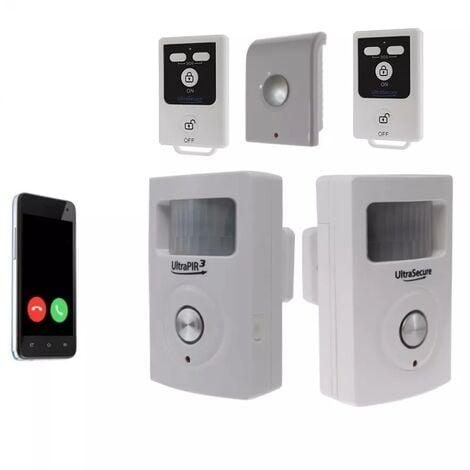 Kit 2 zones alarme GSM 3G sans-fil autonome - 2 détecteurs mouvement + 3 sirènes + alerte appel/SMS (gamme BT)