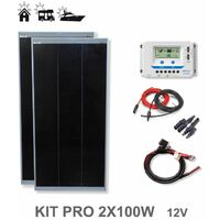 Kit 200W PRO 12V panel solar 2X100W monocristalino células alemanas