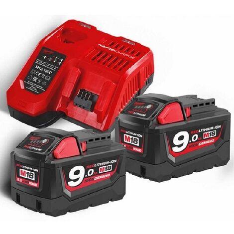 Kit 2x bateria 18V-9,0Ah, + 1 bateria M12 12V 4.0Ah + 1 cargador M18NRG-902 Milwaukee