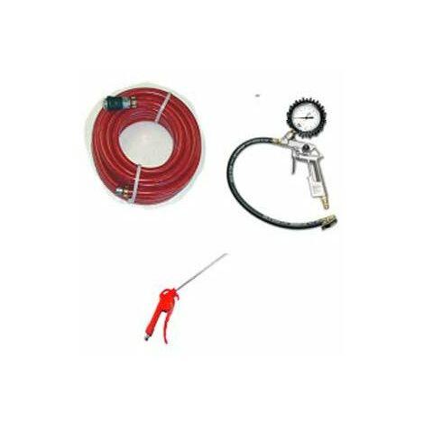kit 3 accessoires air comprime : tuyau+soufflette+poignée de gonflage