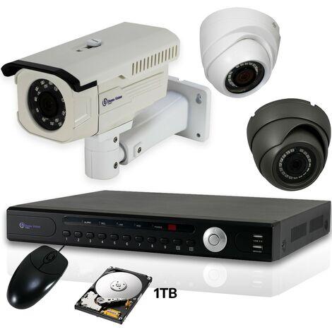 Kit 3 camera et enregistreur videosurveillance NVR POE 1TB 1080p Waterproof IP