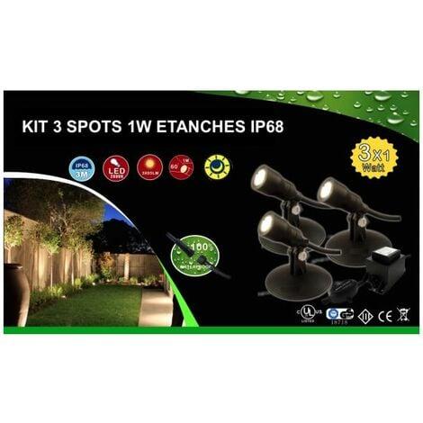 Kit 3 spots LED 1W étanches IP68