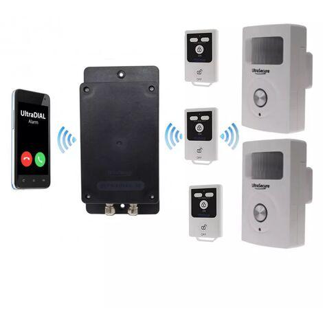 Kit 4 100% autonome renforcé double détection de mouvement + sirènes intégrées + alerte GSM 3G Appel/SMS (gamme BT)