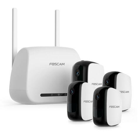 Kit 4 caméras IP 100% sans fil et passerelle wifi - Foscam E1 Kit 3 - Blanc