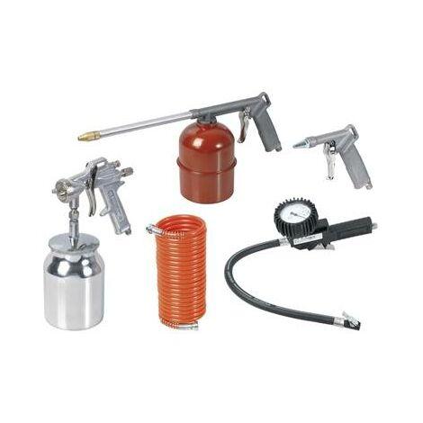 kit 4 pistolets pour compresseur (peinture, gonflage, lavage, soufflette)