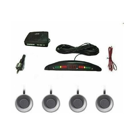 Kit 4 sensori di parcheggio auto suv con display led cicalino suono grigi silver