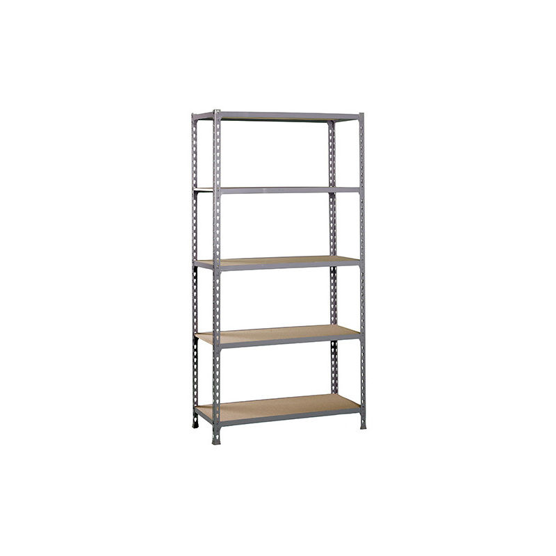 Etagère 5 niveaux 750 Kg L. 900 x Ht. 1800 x P. 500 mm KIT MADERCLICK 5/500 GRIS FONCE/BOIS - 338100025189055 - Simonclick - -