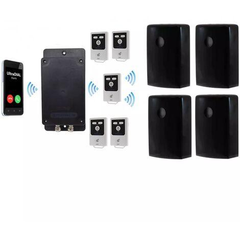 Kit 5 extérieur 100% autonome renforcé 4 détections mouvement + sirènes intégrées + alerte GSM 3G Appel/SMS (gamme BT)
