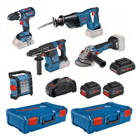 Kit 5 outils 18V + 3 batteries + chargeur + 2 XL-Boxx BOSCH - 0615990M2X