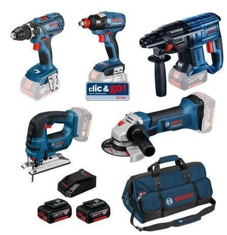 Kit 5 outils 18V Bosch + 3 batteries 4.0 Ah + 1 chargeur 1860CV 0615990K6L
