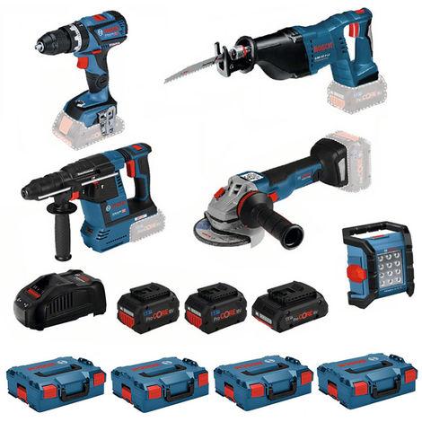 Kit 5 outils 18V GSB/GWS/GBH/GSA/GLI BOSCH - 2x8.0A + 1x4.0A + GAL 1880 CV + 4x L.Boxx 136 - 0615990L52