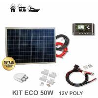 Kit 50W ECO 12V panel solar policristalino