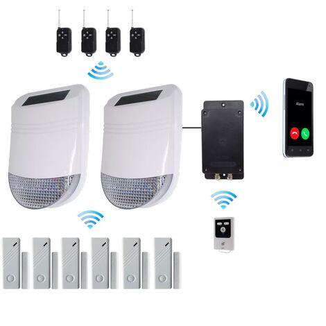 Kit 6 anti-squat GSM PRO détection de vibration / choc / ouverture et sirènes solaires sans-fil autonome (gamme HY/BT)