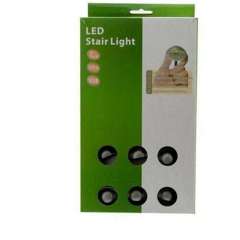 Kit 6 focos LED empotrables balizas para escalera RGB 0,4W 12V-DC IP67 | RGB