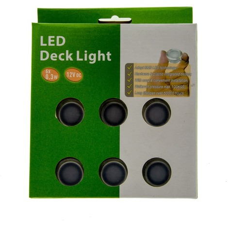 Kit 6 focos LED empotrables en suelo 0,3W 12V-DC IP67