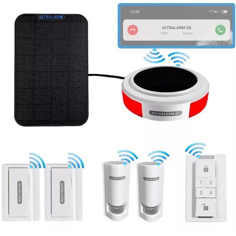 Kit 7 anti-squat 100% connecté contrôlable à distance - Alarme 3G sirène solaire autonome sans-fil + 5 accessoires