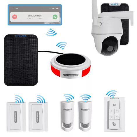 Kit 8 anti-squat 100% connecté contrôlable à distance & caméra 4G solaire rotative - sirène + 5 accessoires sans-fil