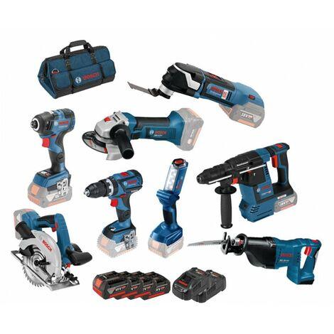 "main image of ""Kit 8 outils 18V GSR + GDR + GBH + GWS + GKS + GSA + GOP + GLI Bosch Professional"""
