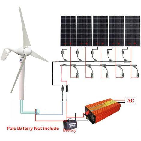 Kit 900W Générateur de turbine hybride éolienne 400W et onduleur panneau solaire 1KW 100W 12V