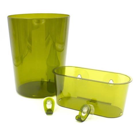 Kit accessoire de salle de bain Swetty : 2 crochets + 1 panier + 1 poubelle  ouverte 7 L - Polystyrene - Marron