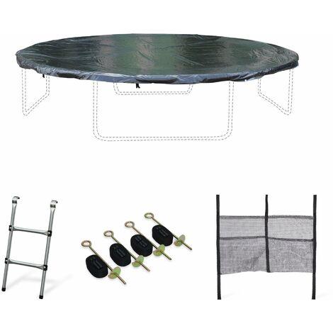 Kit accessoires pour trampoline ⌀400cm Mercure - Échelle, bâche, filet chaussures, kit d'ancrage