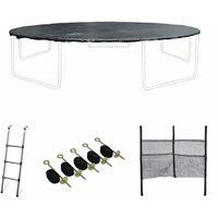 Kit accessoires pour trampoline ⌀460cm Neptune - Échelle, bâche, filet chaussures, kit d'ancrage