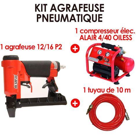 Kit Agrafeuse pneumatique + Compresseur électrique + tuyau 10 m