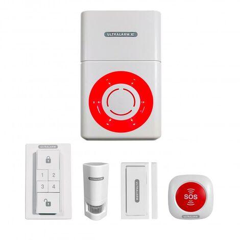 Kit alarme 3G sirène à pile GSM autonome extérieure 100% sans-fil & 4 accessoires (ULTRALARM 3G)