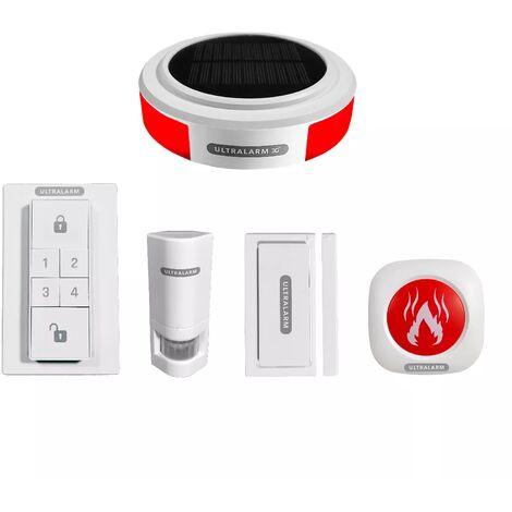 Kit alarme 3G sirène solaire GSM autonome extérieure 100% sans-fil & 4 accessoires (ULTRALARM 3G)