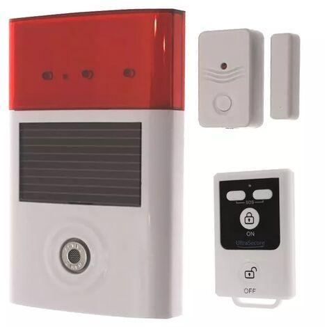 Kit alarme A camping-car - autonome sans-fil sirène solaire + détecteur ouverture + télécommande (gamme BT)