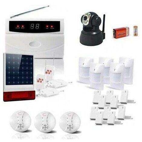 Kit alarme de 32 zones sirene solaire et camera ip
