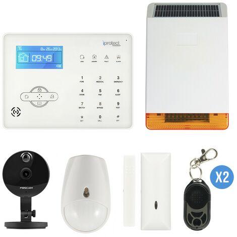 Kit Alarme GSM 03 avec sirène solaire et caméra IP Foscam C1 - Iprotect Evolution - Blanc