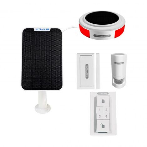 """Kit alarme GSM 3G - sirène """"100% connectée"""" autonome extérieure sans-fil panneau solaire déporté (ULTRALARM 3G)"""