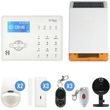 Kit Alarme GSM avec sirène photovoltaïque extérieure et caméra - Iprotect Evolution - Blanc