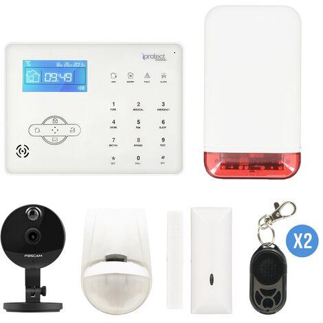 Kit Alarme maison RTC 03 avec sirène autonome et caméra IP Foscam C1 - Iprotect Evolution - Blanc