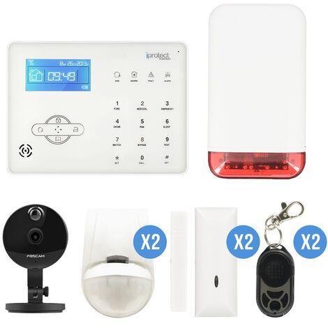 Kit Alarme maison RTC 06 avec sirène autonome et caméra IP Foscam C1 - Iprotect Evolution - Blanc