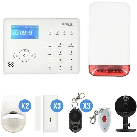 Kit Alarme maison RTC 09 avec sirène autonome et caméra IP Foscam C1 - Iprotect Evolution - Blanc