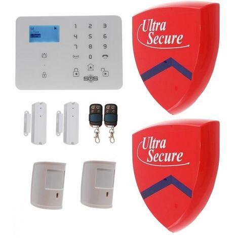 Kit alerte compatible animaux GSM sans-fil 4 détections avec 2 grandes sirènes factices - Centrale KP-9 3G (gamme KP)