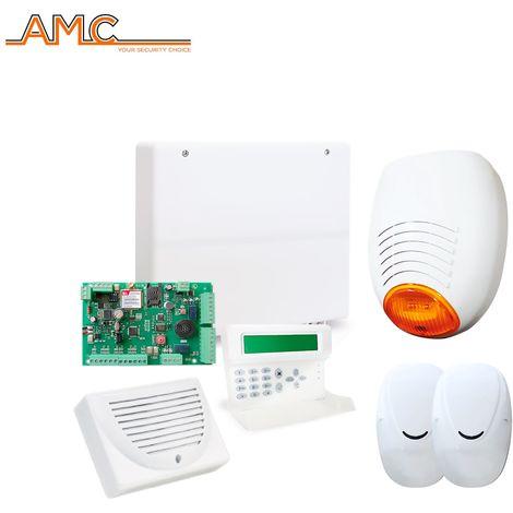 KIT ALLARME ANTIFURTO CASA FILARE AMC C24PLUS GSM DOPPIA TECNOLOGIA SIRENA