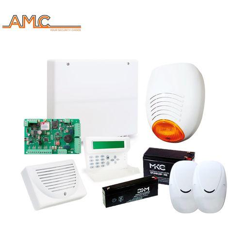 KIT ALLARME ANTIFURTO CASA FILARE AMC C24PLUS GSM DOPPIA TECNOLOGIA SIRENA BATTERIA