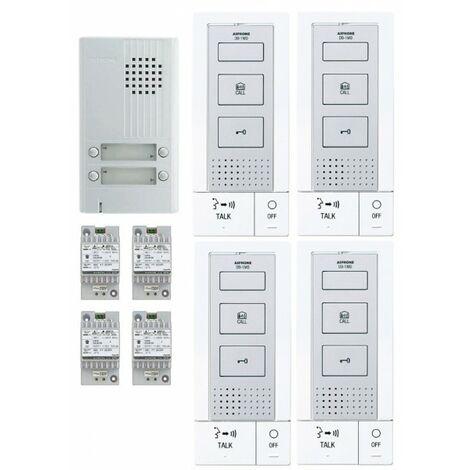 KIT ALU 4BP 4 POSTES Kit portier audio KITDB4 - Aiphone 118717
