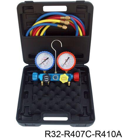 Kit analizador 4 valvulas analogico manometros diam. 80 R32/R407C/R410A