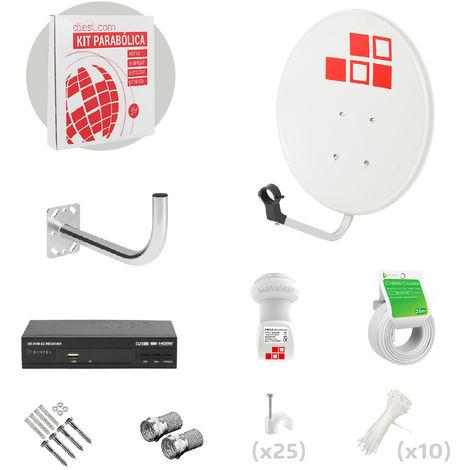 Kit Antena Parabólica 50cm + LNB + Soporte + Cable + Conectores + Receptor
