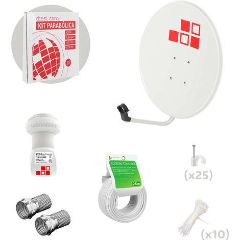 Kit Antena Parabólica 60cm + LNB + Cable
