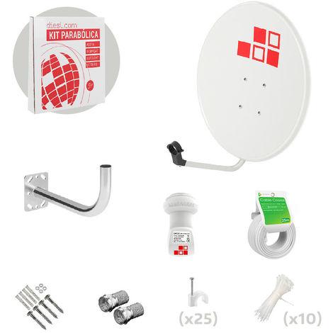 Kit Antena Parabólica 60cm + LNB + Soporte + Cable + Conectores