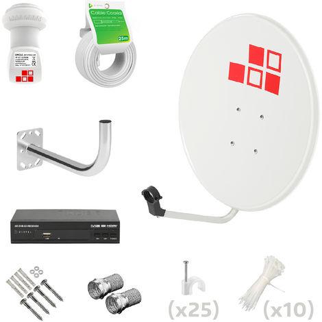 Kit Antena Parabólica 60cm + LNB + Soporte + Cable + Conectores + Receptor