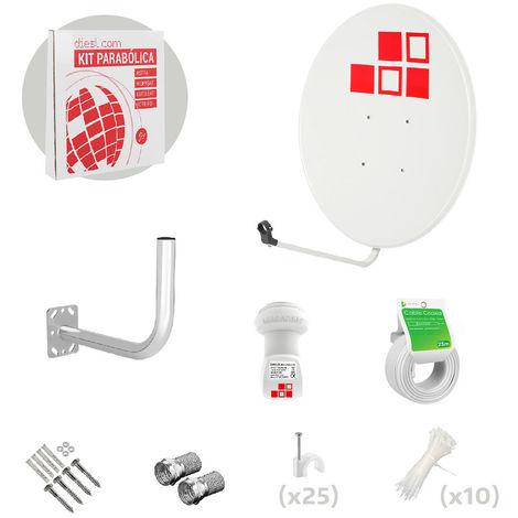 Kit Antena Parabólica 80cm + LNB + Soporte + Cable + Conectores
