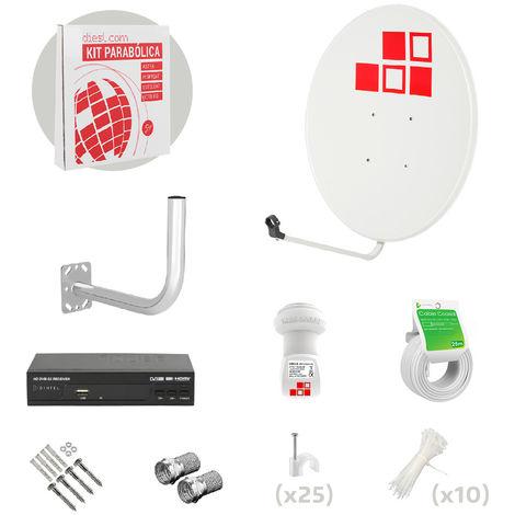 Kit Antena Parabólica 80cm + LNB + Soporte + Cable + Conectores + Receptor