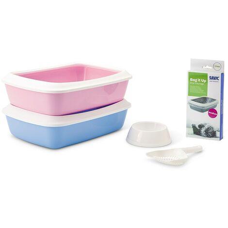 Kit arenero para gatitos Iriz | Bandeja de arena con bolsas, paleta y comedero | Caja de arena WC para gatos